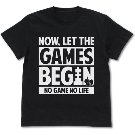 No Game No Life - Now, Let The Games Begin Message T-shirt Black (S Size)
