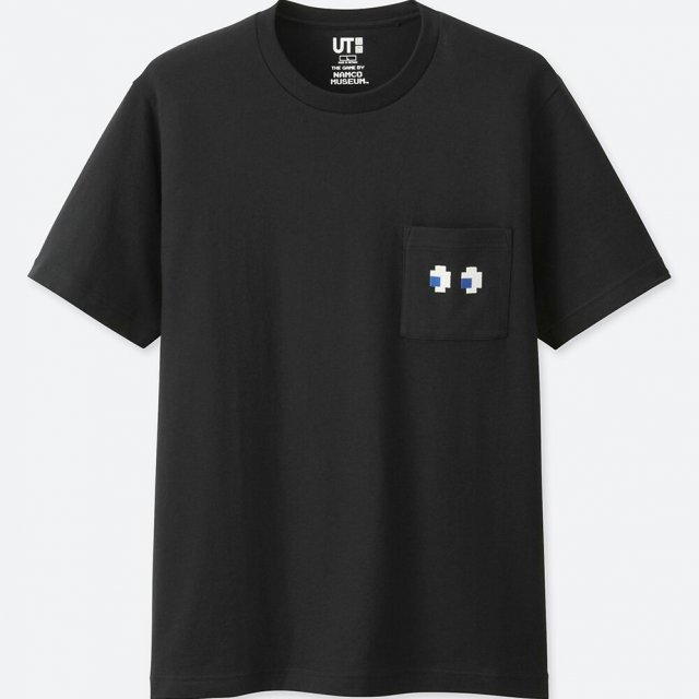 UT Namco Museum - Pac-Man Ghosts Eyes Men's T-shirt Black (L Size)