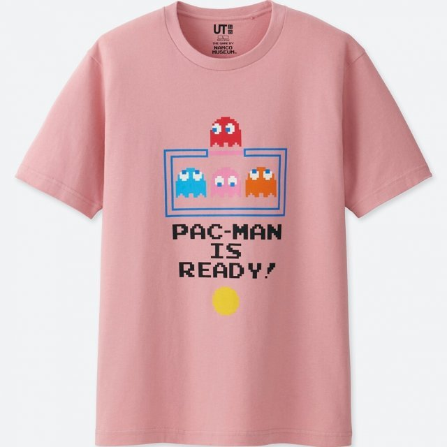 UT Namco Museum - Pac-Man Is Ready Men's T-shirt Pink (M Size)