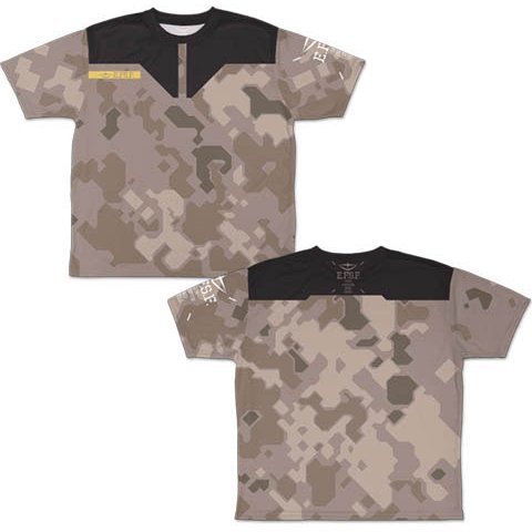 Mobile Suit Gundam - Earth Federation Space Forces Camouflage Double-sided Full Graphic T-shirt (XL Size)