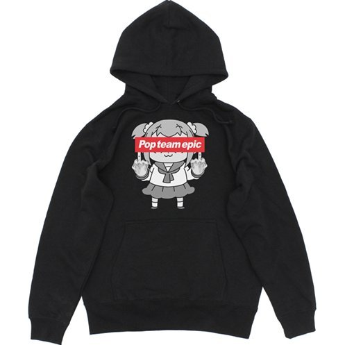 Pop Team Epic Pullover Hoodie Black (S Size)