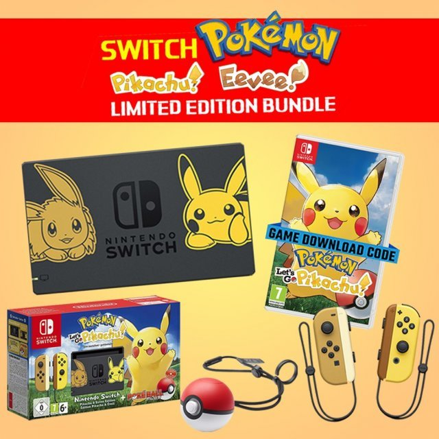 Nintendo Switch Pikachu & Eevee Edition with Pokémon: Let's Go, Pikachu! + Poké Ball Plus [Limited Edition]
