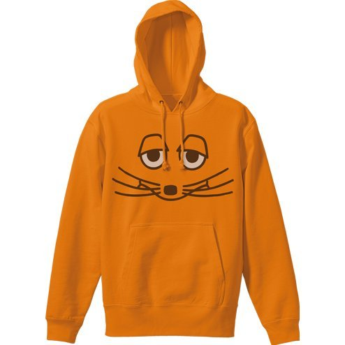 Maus Face Pullover Hoodie Orange (S Size)