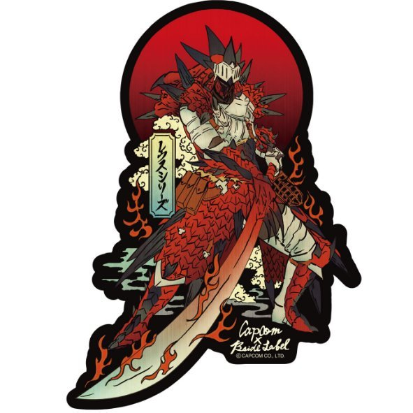 Capcom X B Side Label Sticker Monster Hunter World Rathalos Armor