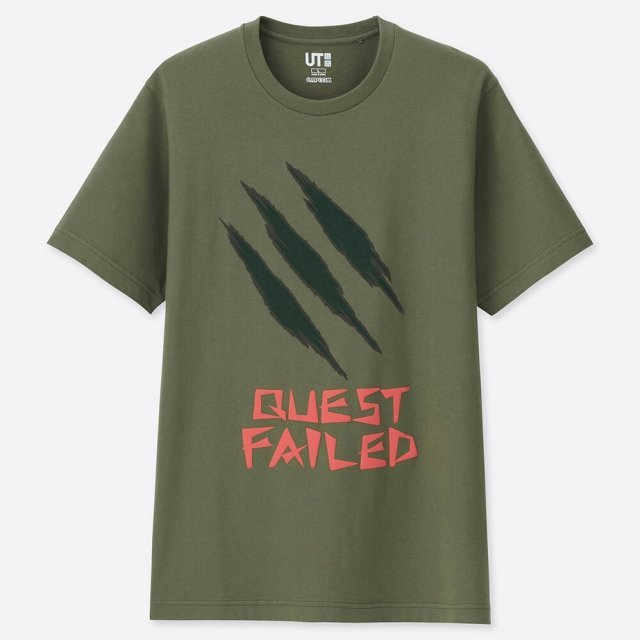 UT Monster Hunter 15th Anniversary - Quest Failed Men's T-shirt Green (M Size)
