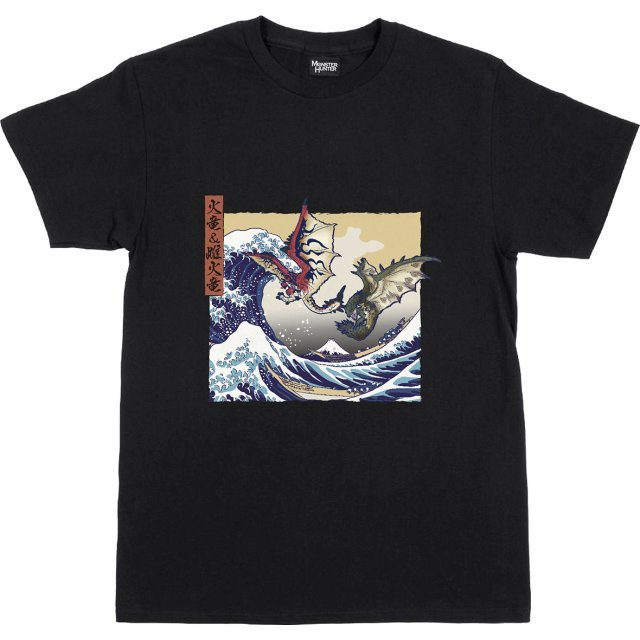 Monster Hunter Ukiyo-e T-shirt: Rathalos And Rathian x Fugaku (XL Size)