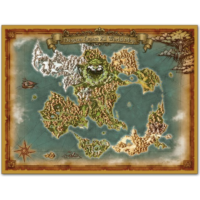 Dragon Quest Xi World Map Dragon Quest XI World Map Cloth