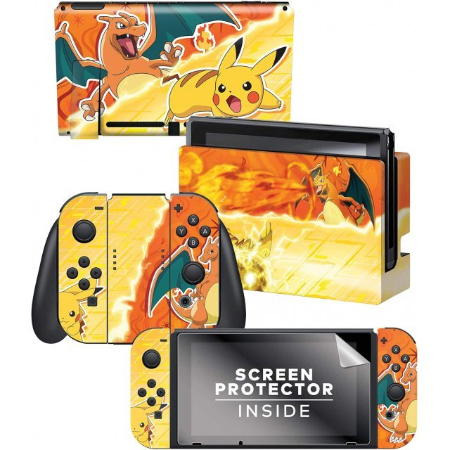 Nintendo Switch Skin & Screen Protector Set (Pikachu Vs Charizard)