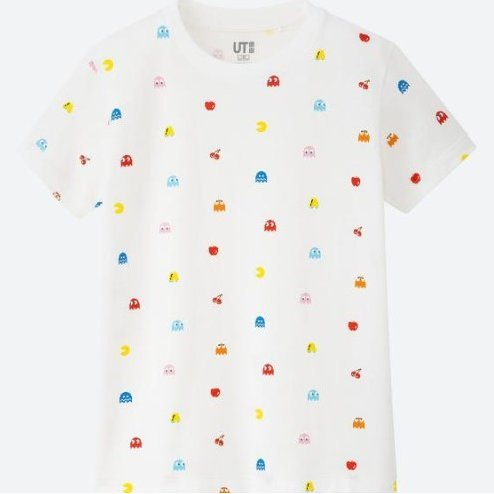 UT The Game Classic Pixels - Pac-Man Kids T-shirt White (130cm Size)
