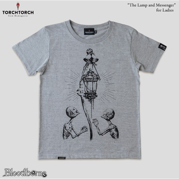 Bloodborne Torch Torch T-shirt Collection: The Lamp And Messenger Heather Gray Ladies (L Size)