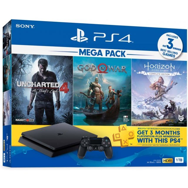 PlayStation 4 1TB HDD Mega Pack (God of War / Horizon Zero Dawn / Uncharted 4 )