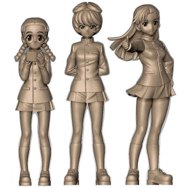 Girls und Panzer das Finale 1/35 Scale Unpainted Model Kit: Chihatan Academy Figure Set School Uniform Ver.