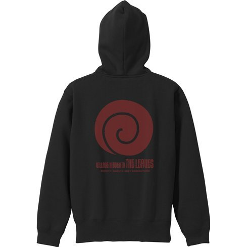 Boruto: Naruto Next Generations - Village Hidden In The Leaves Zippered Hoodie Black (XL Size)