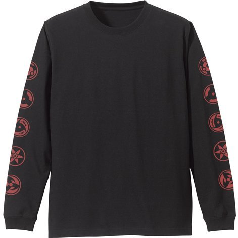 Naruto: Shippuden - Sharingan Pattern Sleeve Rib Long Sleeve T-shirt Black (S Size)