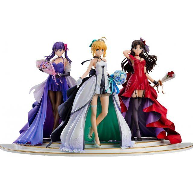 Fate/stay night ~15th Celebration Project~ 1/7 Scale Pre-Painted Figure: Saber, Rin Tohsaka and Sakura Matou ~15th Celebration Dress Ver.~ Premium Box