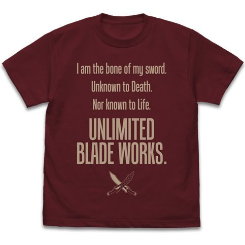 Fate/Stay Night: Heaven's Feel - Unlimited Blade Works T-shirt Ver.2.0 Burgundy (XL Size)
