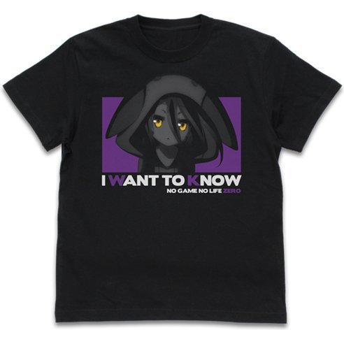 No Game No Life Zero - Schwi I Want To Know T-shirt Black (L Size)