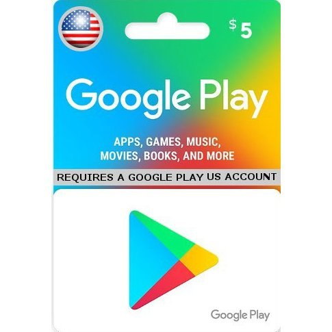 Google Play Card (USD 5 / for US accounts only)