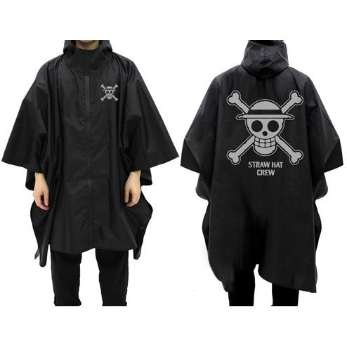 One Piece - Straw Hat Crew Rain Coat Black