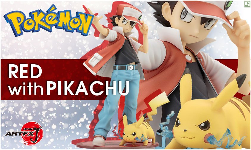 beware of the thunderstorm! artfx j red with pikachu figure!artfx j red with pikachu figure!